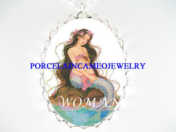 MERMAID MOM CUDDLING BABY GIRL CAMEO PORCELAIN NECKLACE