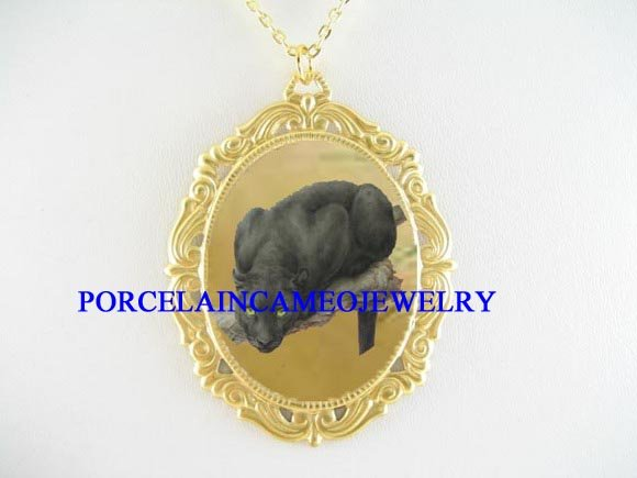 BLACK PANTHER WILD CAT TREE PORCELAIN CAMEO NECKLACE