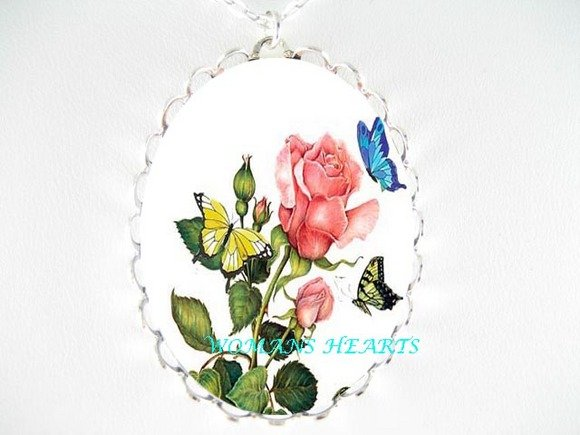 PINK ROSE BUTTERFLY PORCELAIN CAMEO PENDANT NECKLACE
