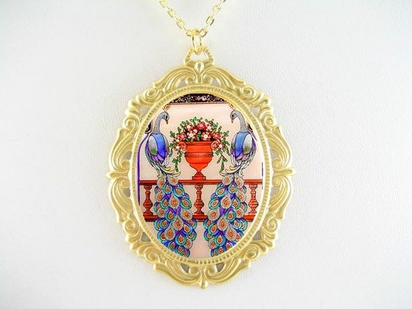 2 PEACOCK BIRD FLORAL PORCELAIN CAMEO PENDANT NECKLACE