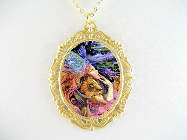 LION ANGEL FAIRY PORCELAIN CAMEO PENDTANT NECKLACE