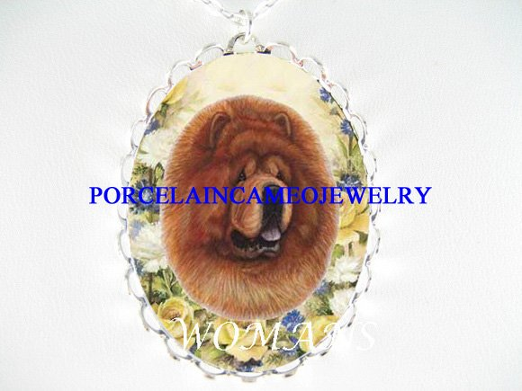 CHOW CHOW YELLOW ROSE PORCELAIN CAMEO PENDANT NECKLACE