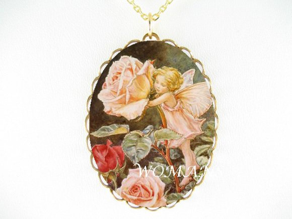 VICTORIAN ROSE FAIRY PORCELAIN CAMEO NECKLACE