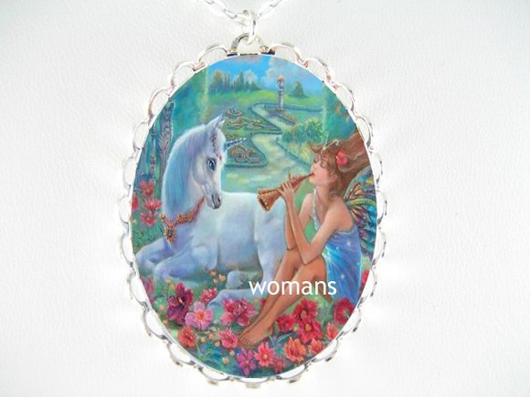 FLORAL UNICORN MUSIC FAIRY PORCELAIN CAMEO NECKLACE