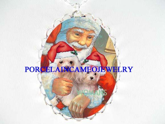 2 MALTESE SITTING ON SANTA LAP PORCELAIN CAMEO NECKLACE