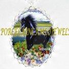 BLACK UNICORN HORSE WITH ROSE PORCELAIN CAMEO NECKLACE