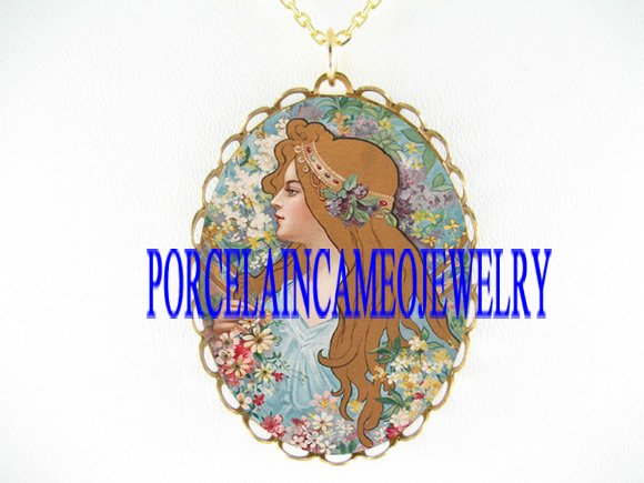 ALPHONSE MUCHA Art Nouveau FLOWER LADY CAMEO NECKLACE