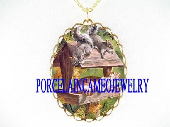 ORANGE CAT 2 SQUIRREL PORCELAIN CAMEO PENDANT NECKLACE