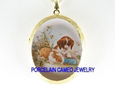 RABBIT BUNNY BEAGLE PUPPY DOG PORCELAIN LOCKET NECKLACE