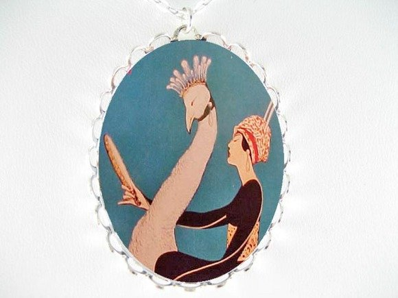 ART DECO LADY CROWN PEACOCK PORCELAIN CAMEO NECKLACE