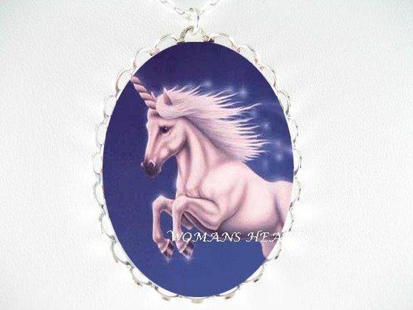 PINK UNICORN HORSE PORCELAIN CAMEO PENDANT NECKLACE