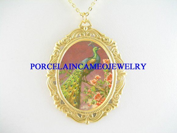 PEACOCK BIRD WITH POPPY FLOWER PORCELAIN CAMEO NECKLACE