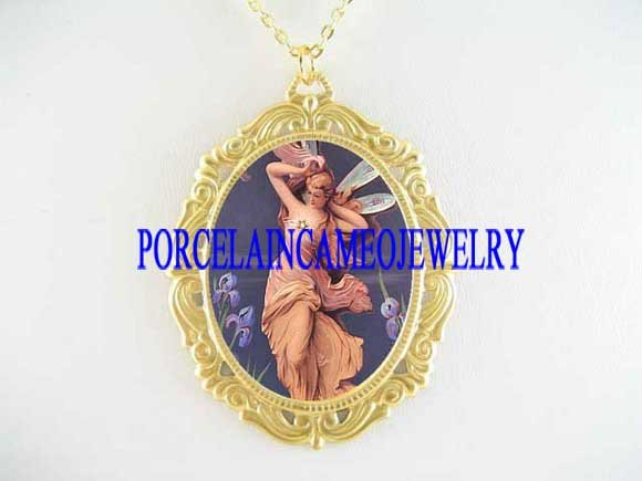 VICTORIAN IRIS FLOWER FAIRY PORCELAIN CAMEO NECKLACE