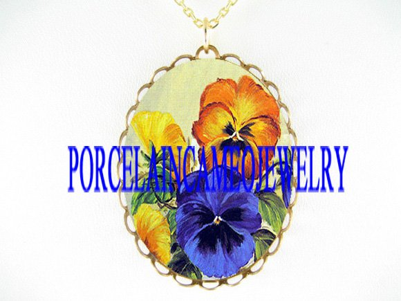 3 COLOR GOLD YELLOW BLUE PANSY PORCELAIN CAMEO NECKLACE