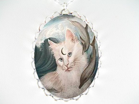 WHITE CAT & 2 DOLPHIN PORCELAIN CAMEO PENDANT NECKLACE