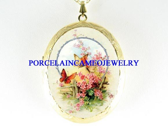 BUTTERFLY FORGET ME NOT PORCELAIN CAMEO LOCKET NECKLACE
