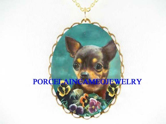 CHIHUAHUA DOG PANSY PORCELAIN CAMEO PENDANT NECKLACE