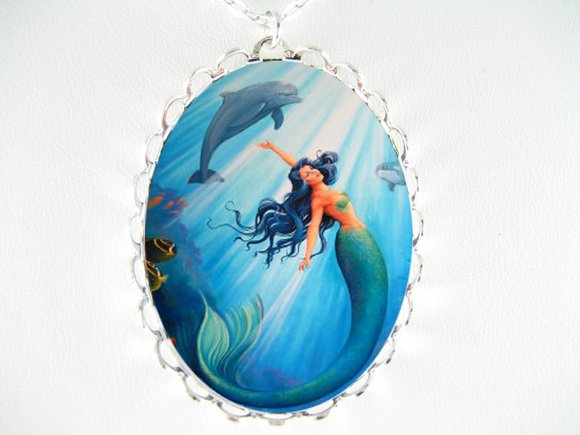 DOLPHIN AND MERMAID PORCELAIN CAMEO PENDTANT NECKLACE