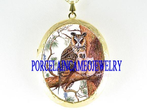 HORNED OWL MOM BABY TREE BRENCH CAMEO PORCELAIN LOCKET
