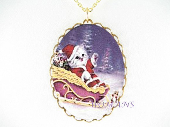 SANTA CAT SLEIGH CHRISTMAS CAT PORCELAIN CAMEO NECKLACE