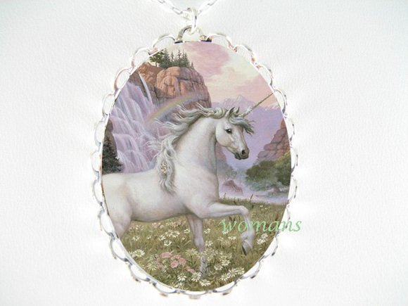 WHITE UNICORN DAISY RAINBOW PORCELAIN CAMEO NECKLACE