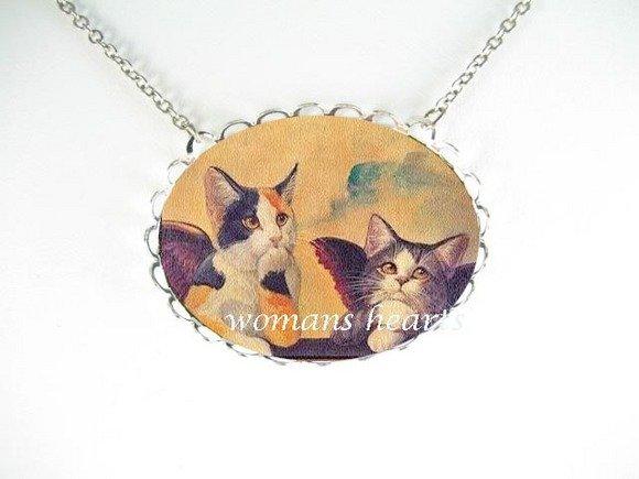 2 RAPHAEL ANGEL CAT CHERUB PORCELAIN CAMEO NECKLACE
