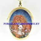 CHRISTIAN LION & LAMB CAMEO PORCELAIN LOCKET NECKLACE-8