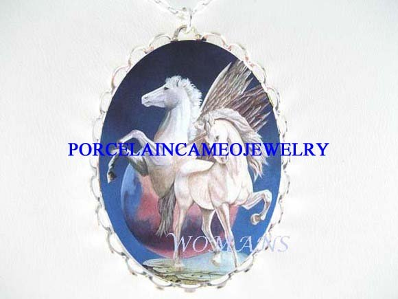 2 PEGASUS UNICORN HORSE PORCELAIN CAMEO NECKLACE