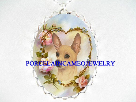 SMOOTH CHIHUAHUA DOG ROSE HEART PORCELAIN CAMEO NECKLAC