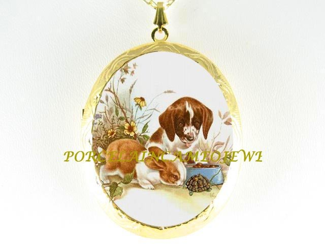 *RABBIT BUNNY WITH BEAGLE PUPPY DOG TURTLE CAMEO PORCELAIN LOCKET