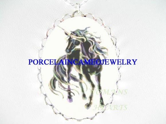 BLACK UNICORN HORSE PORCELAIN CAMEO PENDANT NECKLACE
