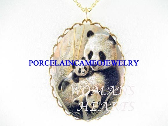 PANDA MOM CUDDLING CUBS PORCELAIN CAMEO PENDT NECKLACE