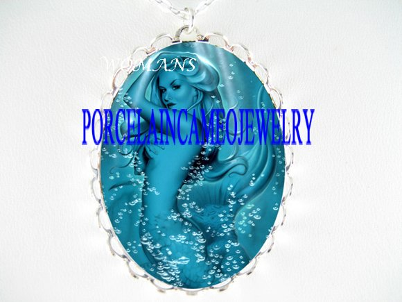 BLUE BUBBLE MERMAID OCEAN SEA PORCELAIN CAMEO NECKLACE