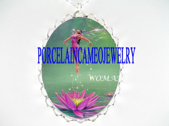PURPLE LOTUS WATER LILY FAIRY PORCELAIN CAMEO NECKLACE