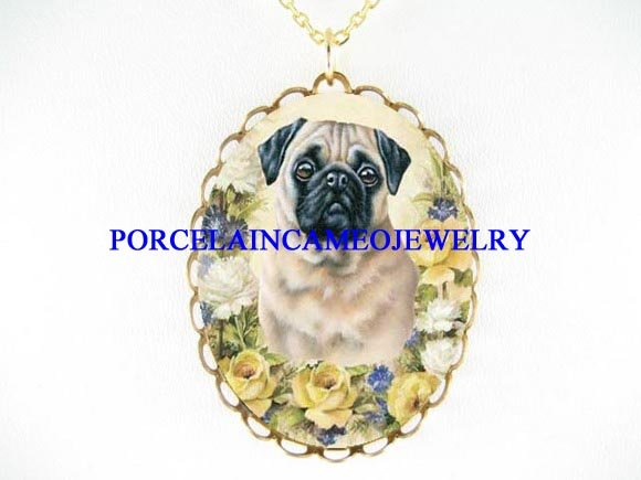 PUG DOG YELLOW WHITE ROSE PORCELAIN CAMEO NECKLACE