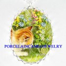 BROWN KITTEN CAT PLAY SNAIL PORCELAIN CAMEO NECKLACE