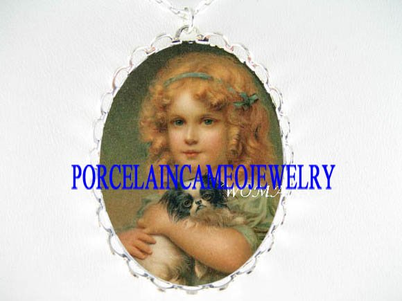 VICTORIAN GIRL HOLDING JAPANESE CHIN DOG CAMEO NECKLACE