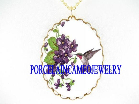 RUBY HUMMINGBIRD PURPLE VIOLET PORCELAIN CAMEO NECKLACE