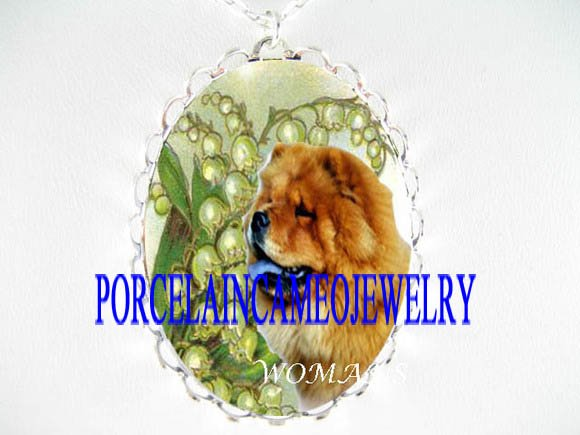 CHOW CHOW DOG WITH LILY OF THE VALLEY CAMEO NECKLACE