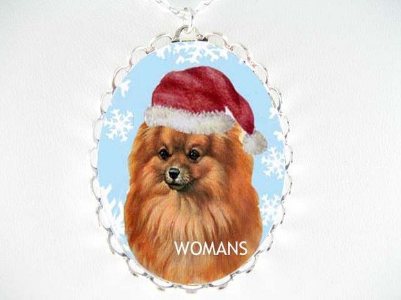 POMERANIAN DOG SANTA HAT SNOW FLAKE CAMEO NECKLACE