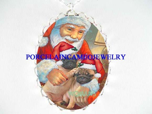 2 PUG DOG WITH CHRISTMAS SANTA CAMEO PORCELAIN NECKLACE