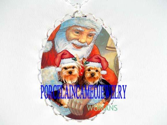 2 YORKSHIRE DOG CHRISTMAS SANTA CAMEO PORCELAIN NECKLACE