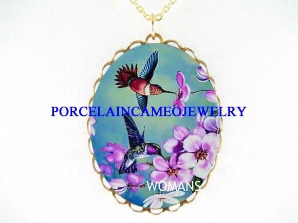 2 HUMMINGBIRD APPLE BLOSSOM PORCELAIN CAMEO NECKLACE