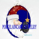 NEWFOUNDLAND DOG SANTA MOON PORCELAIN CAMEO NECKLACE