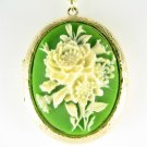 3D EMERALD GREEN VICTORIAN ROSE CAMEO LOCKET NECKLACE