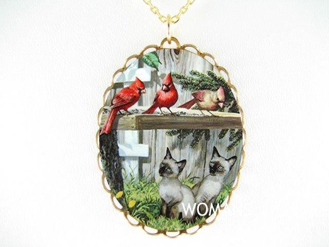 2 SIAMESE CAT 3 CARDINAL BIRD PORCELAIN CAMEO NECKLACE