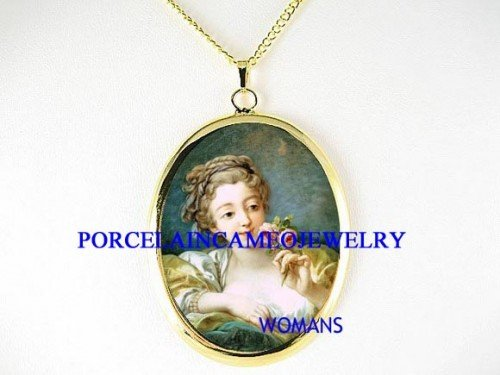 VICTORIAN LADY WITH ROSE CAMEO PORCELAIN NECKLACE