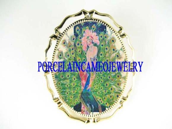 ART DECO PEACOCK BIRD LADY CAMEO PORCELAIN PIN BROCH