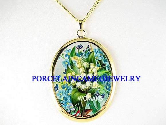 LILY OF THE VALLEY FORGET ME NOT PORCELAIN NECKLACE