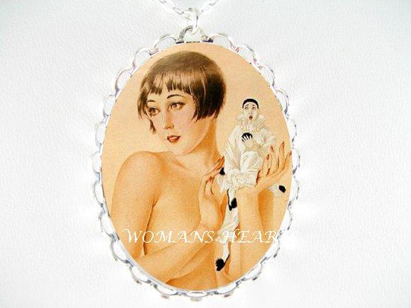 ART DECO LADY PIERROT CLOWN CAMEO PORCELAIN NECKLACE